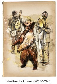 Digital Painting: Dancing bear and group of gypsy musicians