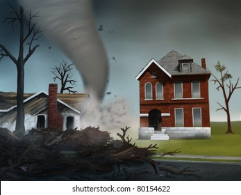 digital painting of a deadly tornado destroying houses in the Midwest