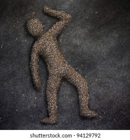 digital painting of a deceased human figure made of cigarette butts