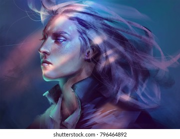digital painting of fantasy male man woman female nonsexual portrait close up