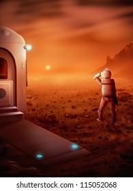 digital painting of the first person to stand on Mars watching a Martian sunrise