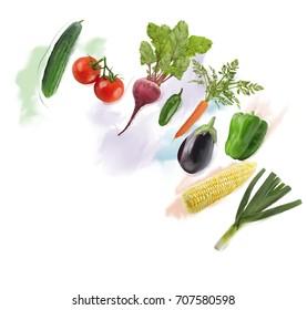 Digital Painting of  Fresh Vegetables