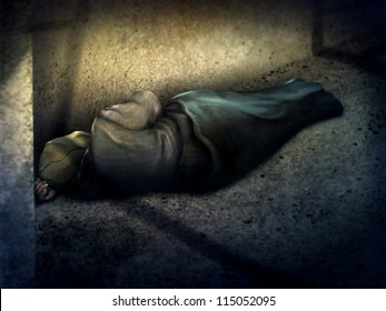 digital painting of a homeless man asleep on the ground in a dark alley