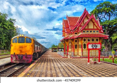 A digital painting of the Hua Hin train station in Thailand.