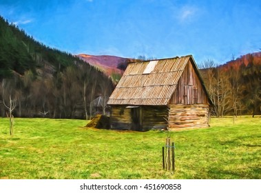 Digital painting illustration art. Old houses country life. Can be used for wallpaper, canvas print, decoration, banner, t-shirt graphic, advertising.