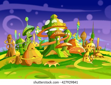 Digital Painting, Illustration of a Futuristic Alien City. Fantastic Cartoon Style Character, Fairy Tale Story Background, Card Design