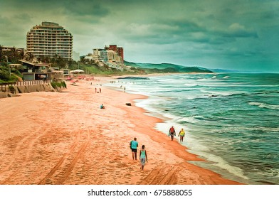 Digital painting of the main swimming beach at Umhlanga Rocks near Durban, illustration