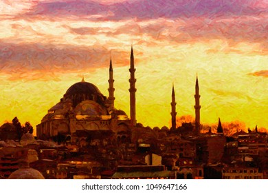A digital painting of the majestic Suleiman Mosque in Istanbul, Turkey.