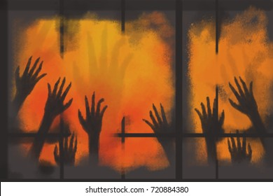 digital painting many hand ghost in the dirty window on orange background