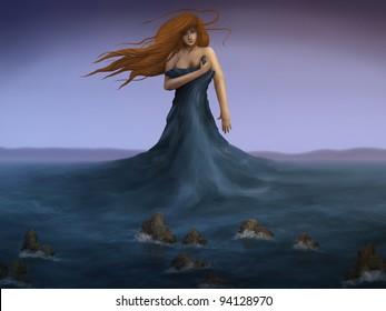 digital painting of a mermaid wearing the ocean as a dress