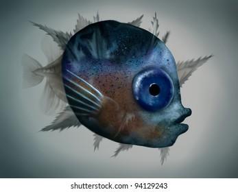 digital painting of a mola mola fish larva under microscope