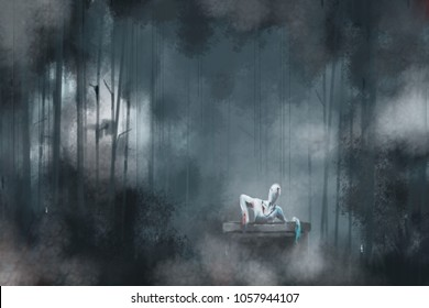 digital painting monster in the pond tube on night forest background