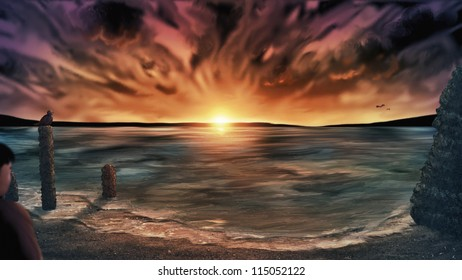 digital painting of an out of focus person standing on a beach under a surreal cloudy sunset sky