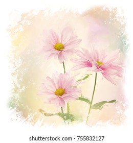 Digital painting of Pink Daisy Flowers
