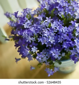 Digital painting of purple  'Campanula Get Me' spring blossoms.