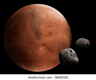 a digital painting of the red planet Mars and 2 of it's moons, Phobos and Deimos.