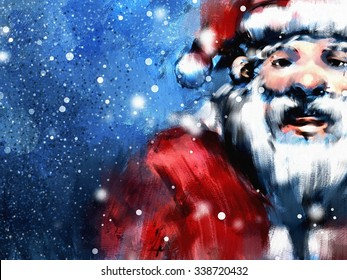 digital painting of santa claus in wintertime , oil on canvas texture