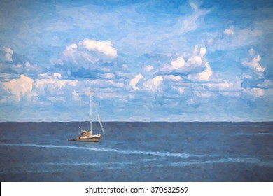Digital Painting of single lonely sailboat on blue ocean sea with white fluffy clouds in clear blue sky looking restful relaxing calm isolated secluded private
