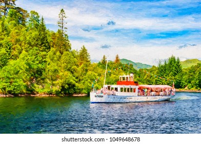 Digital painting of the Sir Walter Scott steamship bringing its passengers back to dock after a tour of Loch Katrine in Scotland.