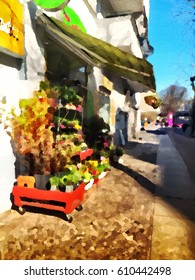 Digital painting of a street with flower shop in Berlin, Europe