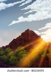 digital painting of the sun rising over a mountain peak in the jungle