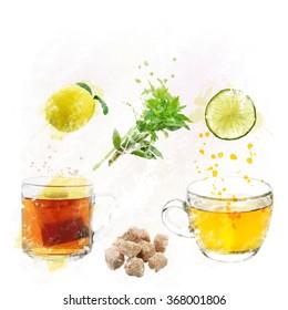 Digital Painting of Tea Set