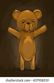 Digital painting Teddy bear