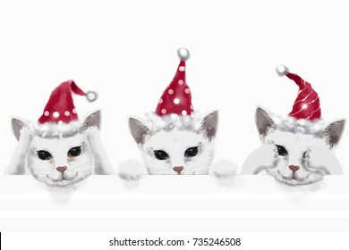 digital painting three cat wear red christmas hat close eye close ear close mouth on white background.three monkey
