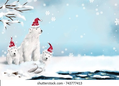 digital painting three polar bear wear red christmas hat sit on snow floor.ice berg.christmas day.winter season.merry christmas.new year