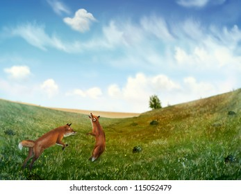 digital painting of two wild foxes playing in a rolling field of grass under a cloudy blue sky
