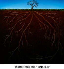digital painting of underground tree roots