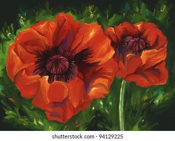 digital painting of vibrant red poppy flowers