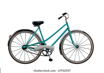 a digital painting of a vintage bike isolated on a white background