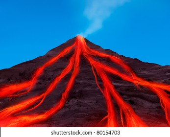 digital painting of a volcano erupting with red hot magma