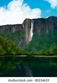 digital painting of a waterfall in the South American jungle