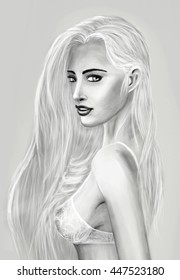 Digital painting of woman with long light hair in white bra