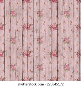 Digital Paper for Scrapbook Light Pink Wood and Flowers Texture Background