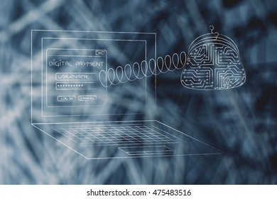 digital payment illustration, laptop with wallet made of electronic circuits coming out of the screen with a spring