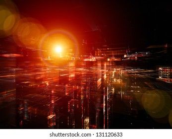 Digital Perspectives series. Interplay of light grids and fractal elements on the subject of business, science, education and technology