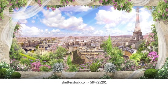 Digital photo manipulation - Fresco. Flowers of Paris View from the window in a ruined stone wall covered with plaster and painted.