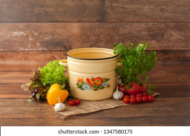 Digital Photography Backdrop/Prop for Newborn. For boys and girls. Decoration for little cook. Inspiration with fresh and organic vegetables.Tomato, yellow pepper, greens, parsley. Saucepan. Wood back