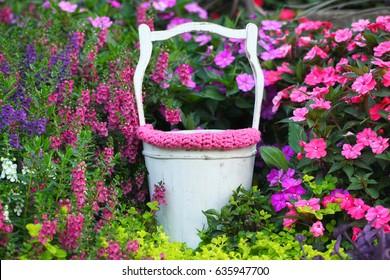 Digital Photography Background Of Spring Flower Garden