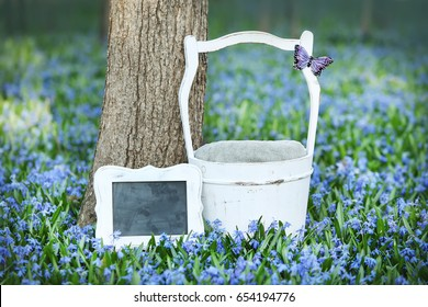 Digital Photography Background Of Spring Flower Field And White Bucket Prop