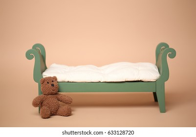 Digital Photography Background Of Vintage Baby Bed