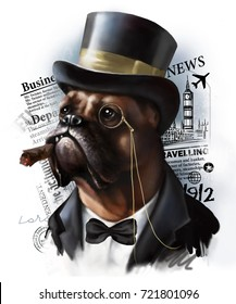 Digital portrait of a red dog breed boxer in the image of a rich millionaire aristocrat, dressed in a tuxedo and cylinder hat on a background of newspaper articles.