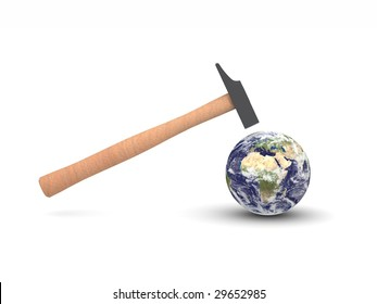 digital render of a hammer hitting Earth showing Europe and Africa