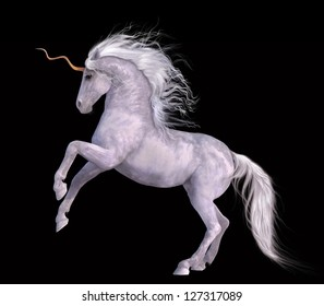 A digital render of a pure white unicorn in a half rear pose on a black background.