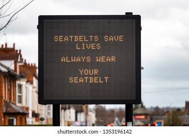 digital road traffic information display message seatbelts save lives always wera your seatbelt on road in uk
