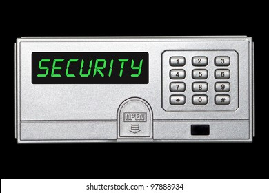 Digital safety deposit box panel with security wording on the screen panel