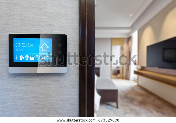 digital screen on wall with modern luxury living room